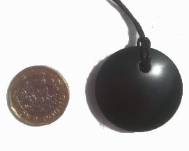 Shungite Disk Pendant Front View